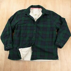 LL BEAN women's fleece lined flannel shirt jacket XS PETITE plaid check