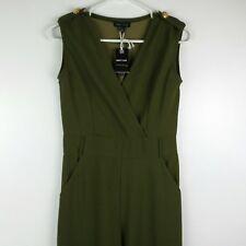Sweet Look Juniors Jumpsuit Large Olive Green Sleeveless V-Neck Belted Long Leg