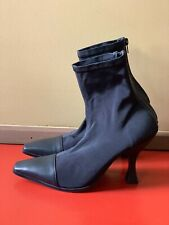 Tony Bianco Black Khan Leather and Fabric Ankle Booties Size US8 New