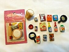 VINTAGE DOLLHOUSE FOOD MINIATURE CAN GOODS LOT DIORAMA BABY DOG KITCHEN LAUNDRY