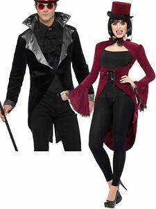 Ladies Mens Victorian Vampire Tailcoat Ringmaster Showman Fancy Dress Costume