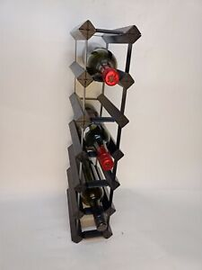 12 OR 7 Bottle Timber Wine Rack - BLACK & RUSTIC - Free Delivery Australia Wide