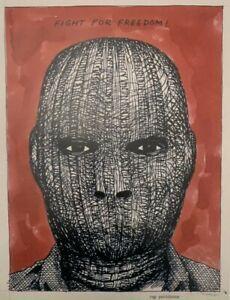 "Raymond Pettibon ""Fight For Freedom"" Print on Paper *Black Flag Punk Art*"