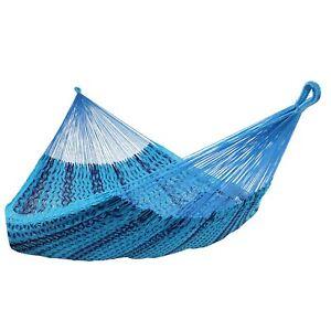 Sunnydaze Mayan Family Hammock XXL Blue Handwoven Thick Cord - 880-lb. Capacity