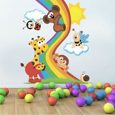 ced71 Full Color Wall decal Sticker animal friends rainbow bedroom kids nursery