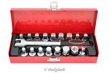 Professional 19 Piece Oil Drain Sump Plug Sockets Set in Metal Box Garage Tool