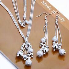 SchmuckSet Perlen Halskette & Ohrhänger 925 Sterling Silber plattiert Geschenk !