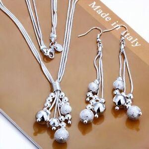 Schmuck Set Perlen Halskette Ohrhänger 925 Sterling Silber plattiert Geschenk