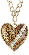 BETSEY JOHNSON Lovely Leopard Crystal Accent Large Heart Gold-Tone Necklace