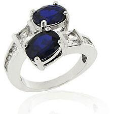 5.80CTW BLUE & WHITE SAPPHIRE  WEDDING  LOVE BAND RING SZ 6 SZ 7 SZ 8 SZ 9 SZ 10