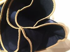 Fazzoletto Tasca SQUARE Fazzoletto di cotone DK Blu Con Floreale Beige CH008