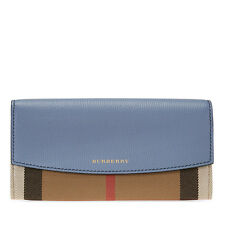 Burberry House Check Sartorial Leather Wallet- Slate Blue