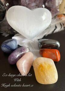 Ex- Large Healing Chakra Gemstone Sets. Crystal selenite. Free Info. Chakra Gift