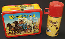 1964 - WAGON TRAIN - METAL LUNCH BOX + THERMOS - REVUE STUDIOS - KING-SEELEY CO