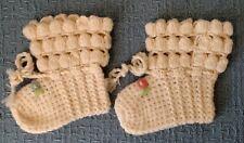 Vintage ~ Handmade ~ BABY BOOTIES ~ Cream Wool ~ Floral Accents ~ Braided Tie