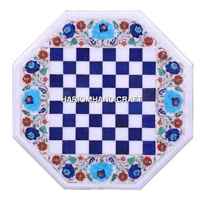 Marble Coffee Chess Table Top Marquetry Inlaid Lapis Stone Floral Design H1988