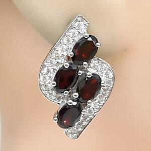 World Class 5.40ctw Garnet & Diamond Cut White Sapphire 925 Silver Earrings 8.6g