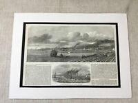 1853 Print Holyhead Harbour Ireland West Pier Ship Boats Sea Antique Original