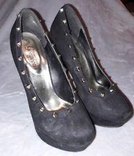 New Look Black Studded Platform Heels Rock Chick Punk Rocker Size 5