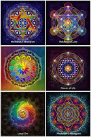 6x Blume des Lebens Zodiac Hexagram Lotus Om Metatron Yoga Aufkleber Sticker