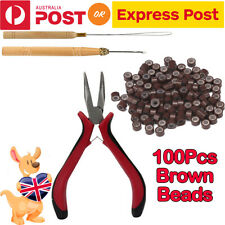 AU Hair Extension Tools Kits Feather Pliers Pulling Needle Silicone Micro Beads