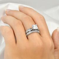 Womens Wedding Band Engagement Ring Set 2.5 CT Princess Cut Real Silver Size 5-9