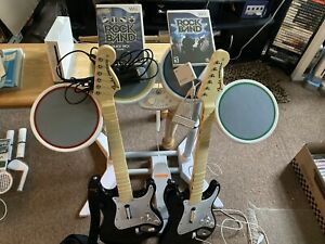 Rock Band Full Band Nintendo Wii 2 Guitars Drums Dongles Mic Tested Working