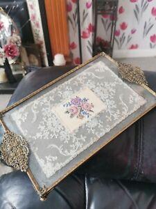 Vintage  Petit Point Filigree Vanity/ Dressing Table Tray