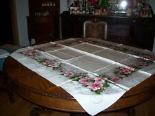 Vintage California Hand Print Table Cloth 48 by 52 Pink Camellias Never Used!