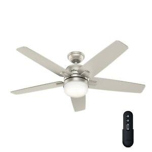 """Hunter 52"""" Ceiling Fan Cavera II Light Kit, Remote, Smart WiFi Enabled Nickel"""