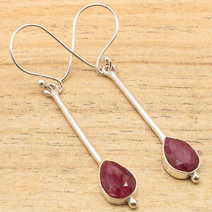 Global Look Stylish 925 Silver Plated Natural Red Ruby Earrings Fashion Jewelry