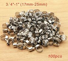 "100x  Stainless Steel Adjustable Drive Hose Clamps Fuel Line Worm Clips 3/4""-1"""