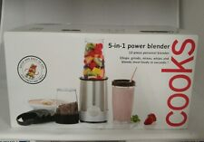 COOKS Personal 5 in 1 Power Blender Single Serving Metallic Silver 12 Pc NEW