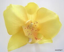"""3.25"""" Yellow Orchid  Silk Flower Hair Clip,PinUp,Updo,Bridal,Party"""