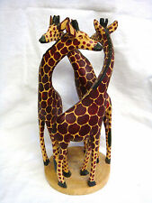 """Unique Hand Carved Three Entwined Wooden Giraffe 12"""" Statue"""