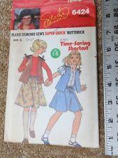Butterick Marie Osmond #6424 PATTERN NEW Girls Vest & Skirt Size P-S-M