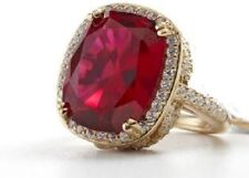 """Jean Dousset GT14ct Absolut Cushion-Cut Ruby PavéFrame """"Feather"""" Cocktail Ring 5"""