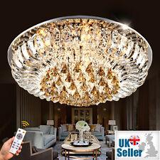 Véritable Cristal Lustre Lampe Plafonnier 3 Couleurs + à Distance Ctrl Bluetooth
