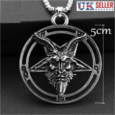 Baphomet Inverted Pentagram Goat Head Pendant Necklace Satanism Occult - UK