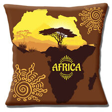 "Africa Map 16""x16"" 40cm Cushion Cover Ethnic Kilimanjaro Mountain Scenery"