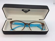 ROXY 37 GLASSES FRAMES CARAMEL FRONT, LILAC INLAY AND VIVID BLUE ARMS.