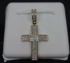"10K Men's/Ladies Yellow Gold Cross With 0.20CT Diamond 1.25"" Long Angel/ Jesus"