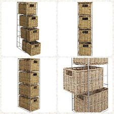 4 Drawer Seagrass Basket Rattan Effect Bathroom Storage Tower Silver Metal Frame
