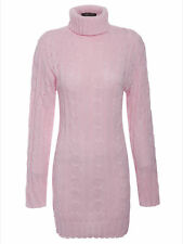 New Ladies Cable Knitted Cowl Polo Neck Jumper Mini Tunic Dress Women Ribbed Top