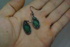 Emerald Green Glass Panel scrollwork drop earrings