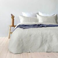 Paisley Floral Ivory Embossed Coverlet Set By Bambury | fits Queen Or King