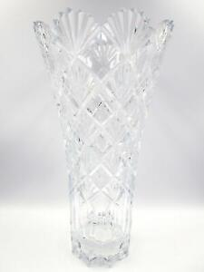 """MIKASA FLAIR VALBONNE Vase 14"""" Lead Crystal Made In The Czech Republic Excellent"""