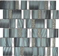 Aluminium Glasmosaik grau silber Wand Küche Sauna Thekenverkleidung  88-0002_b