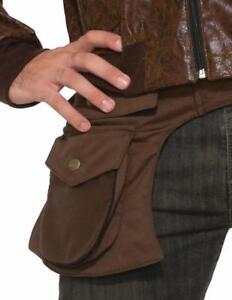 Steampunk Unisex Hip Pouch Br Poly/Cotton 3 Pocket Adjustable Waist Belt Pouch