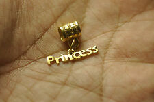 WOW Adorable Princess Word Name 24K Gold Pltd bead Dangle charm 4 european Brace